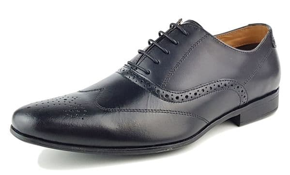 Red Tape - Portman Black Leather Shoes